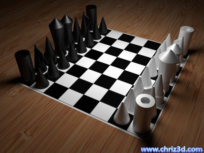 puristic chess-set, easy to print  3D Print 52090