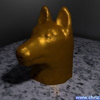 Small German shepherd bust 3D Printing 52094