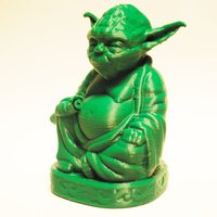 Small Improved Yoda Buddha w/ Lightsaber  3D Printing 52348