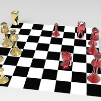 Small Classic Chess Pieces With Wall Hanger - 3D Print 3D Printing 5255