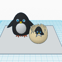 Small Penguin With Baby 3D Printing 53389