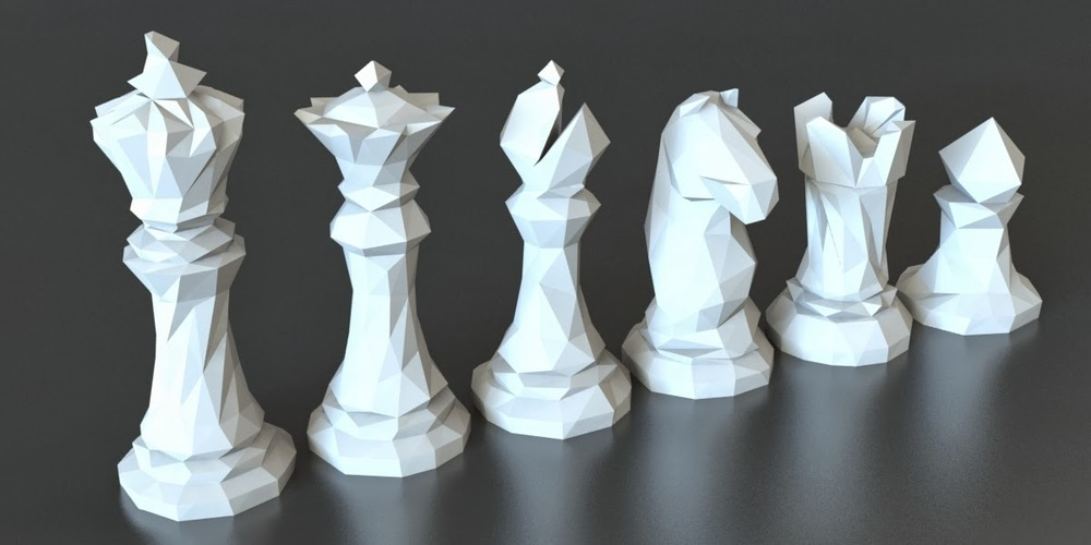 Faceted Chess Set  3D Print 5410