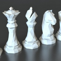 Small Faceted Chess Set  3D Printing 5410
