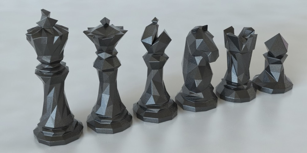 Faceted Chess Set  3D Print 5412