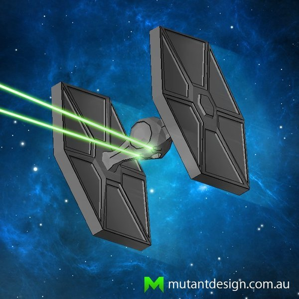 Medium Low Poly Tie Fighter - Star Wars 3D Printing 54356