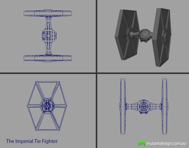 Low Poly Tie Fighter - Star Wars 3D Print 54357