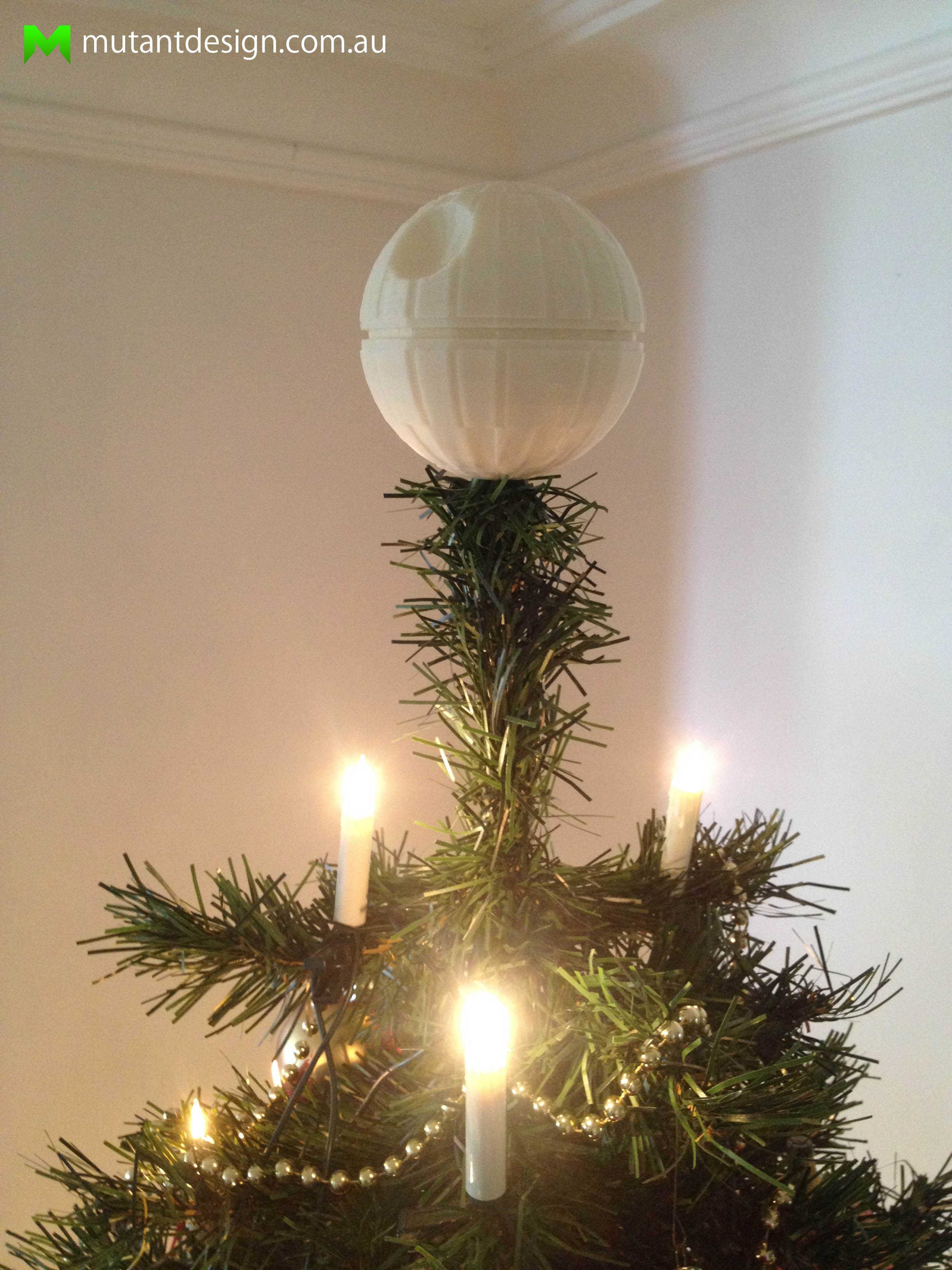 3d printed death star christmas tree topper star wars by mutant design pinshape