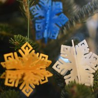 Small MkrClub Snowflake - 3-part tree ornament/decoration 3D Printing 55080
