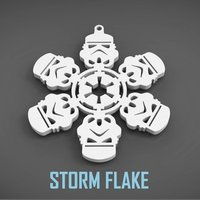 Small STORM FLAKE  christmas decoration 3D Printing 55082