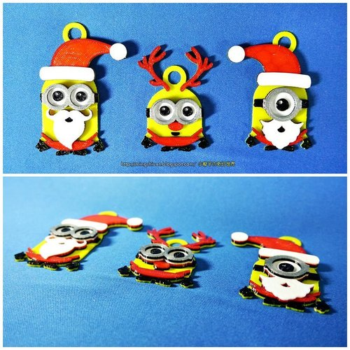 Minions Keychain / Magnets -Christmas cute version 3D Print 55115