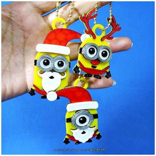 Minions Keychain / Magnets -Christmas cute version 3D Print 55117