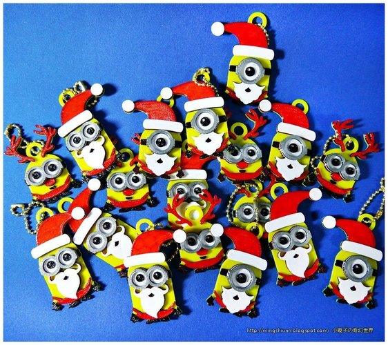 minions keychain magnets christmas cute version 3d print 55118 - Christmas Minions
