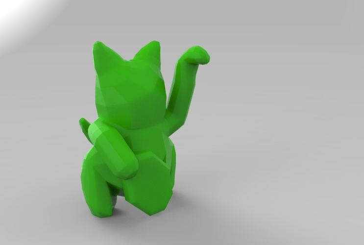 Low Poly Maneki Neko (Japanese Cat) 3D Print 5540