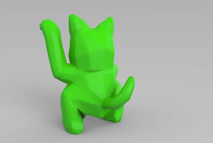 Low Poly Maneki Neko (Japanese Cat) 3D Print 5541