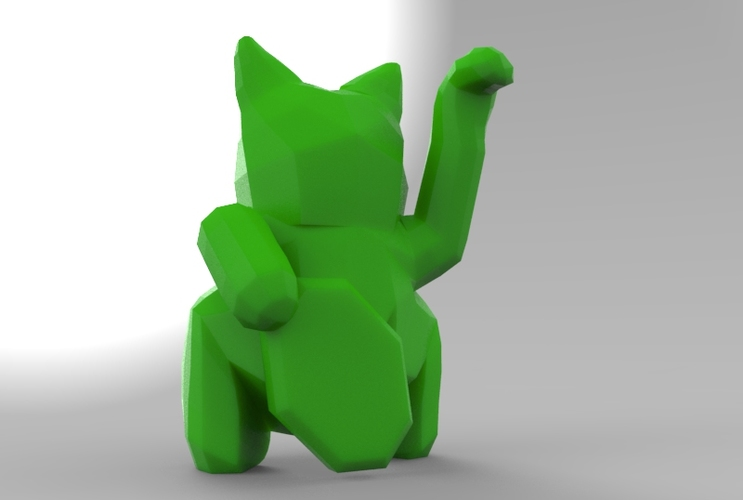 Low Poly Maneki Neko (Japanese Cat) 3D Print 5542