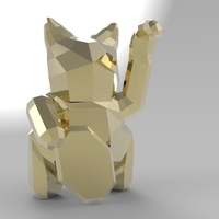 Small Low Poly Maneki Neko (Japanese Cat) 3D Printing 5543