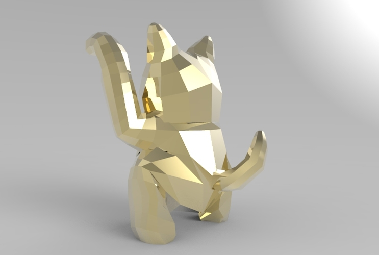 Low Poly Maneki Neko (Japanese Cat) 3D Print 5544