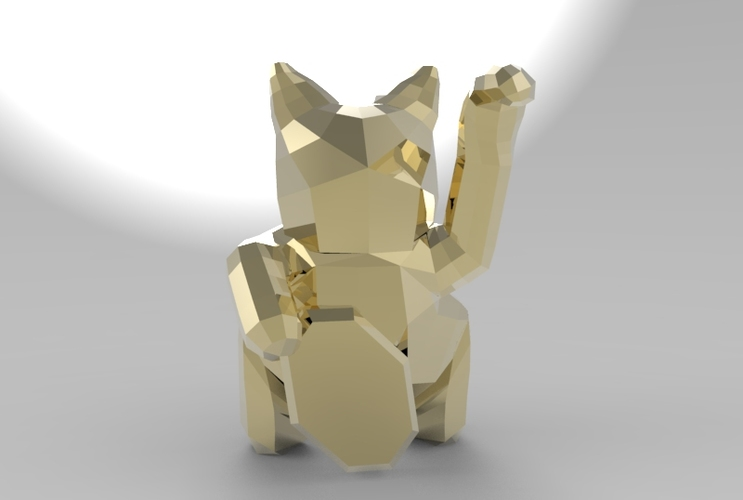 Low Poly Maneki Neko (Japanese Cat) 3D Print 5545