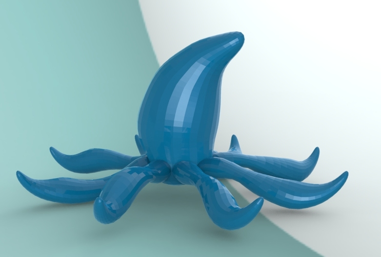 Low Poly Space Octopus 3D Print 5548