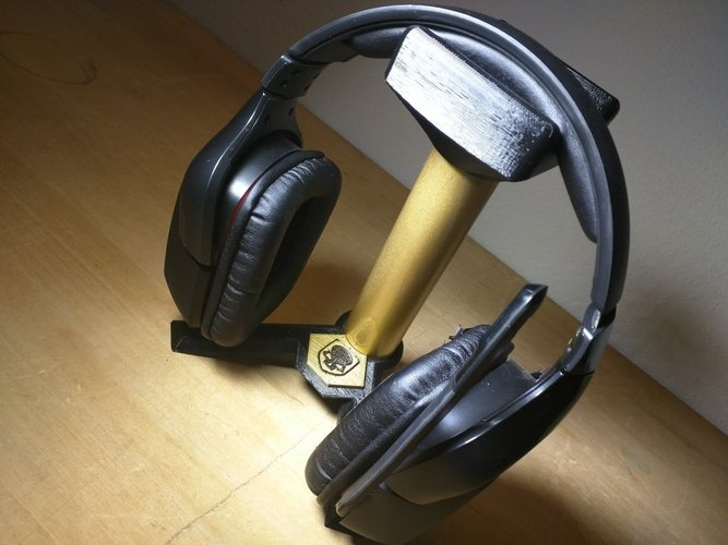 Headphone Stand - Gamer - prints w/o support - uses 1in PVC pipe 3D & 3D Printed Headphone Stand - Gamer - prints w/o support - uses 1in ...