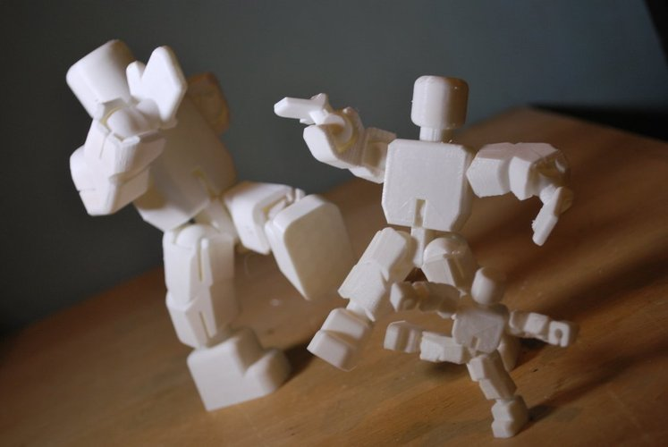 Action Figure - Open Source - snaps together - prints without su 3D Print 55520