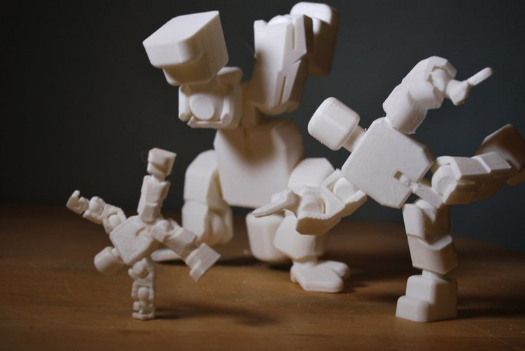 Action Figure - Open Source - snaps together - prints without su 3D Print 55521