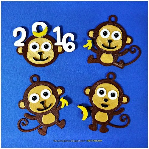 2016  YEAR OF The MONKEY-Keychain / Magnets  3D Print 55746