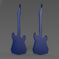 Small Low Poly Electric Guitar Earring 3D Printing 5611