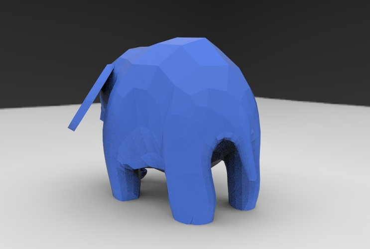 Low Poly Baby Elephant 3D Print 5661