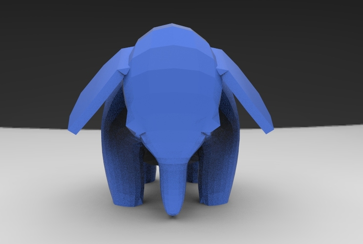 Low Poly Baby Elephant 3D Print 5662