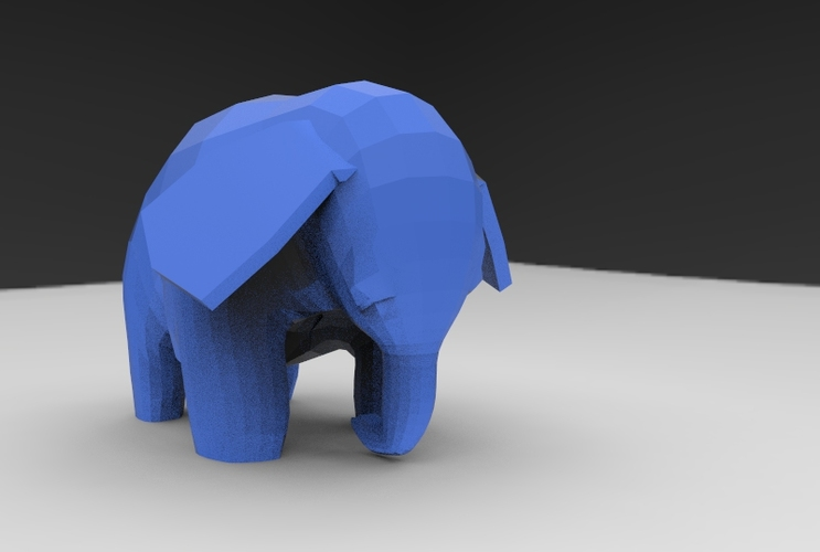 Low Poly Baby Elephant 3D Print 5663