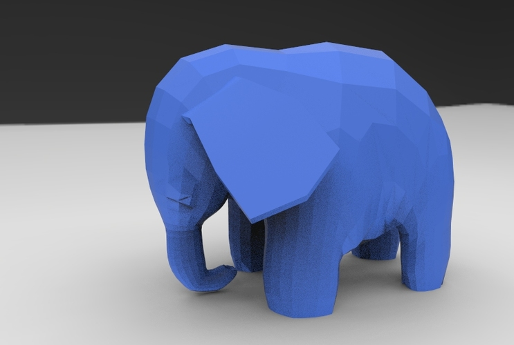Low Poly Baby Elephant 3D Print 5664