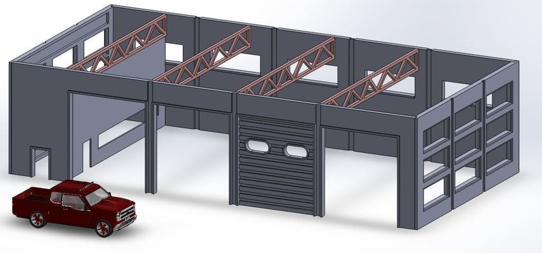 3d printed garage ho scale by otto beilman pinshape - Printable ho scale building interiors ...