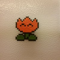Small Pixel Fire Flower (Magnet or Pin) - Super Mario World 3D Printing 57089