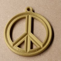 Small Peace Sign Medallion 3D Printing 57580