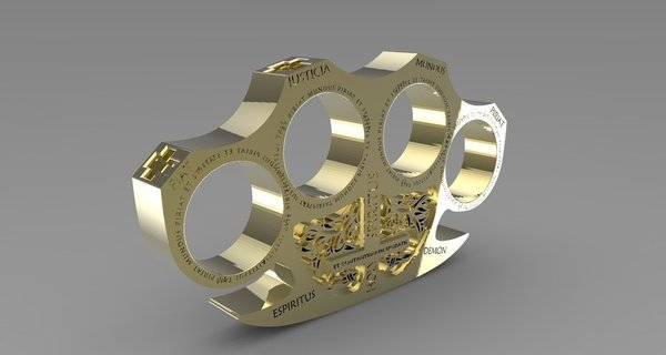 Medium Holy Brass Knuckles 3D Printing 58515
