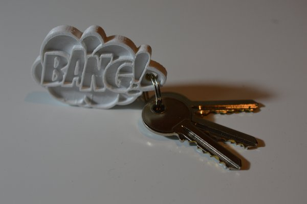 Medium BANG! Comic Keychain Hanger 3D Printing 58836