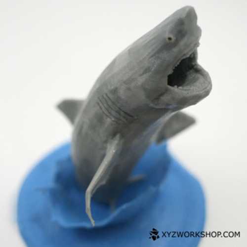 Flying White Shark Figurine (Low Poly) 3D Print 5887