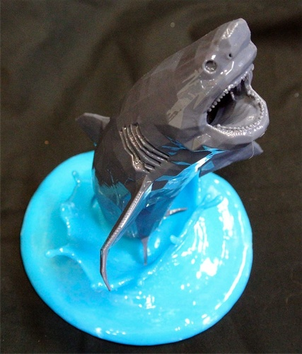 Flying White Shark Figurine (Low Poly) 3D Print 5890