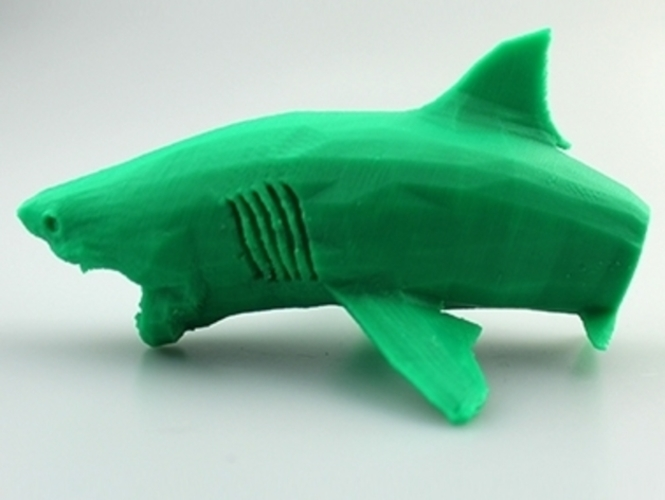 Flying White Shark Figurine (Low Poly) 3D Print 5897