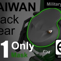 Small Taiwan Black_bear Military [Only MASK] 3D Printing 59787