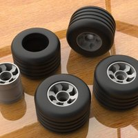 Small  Open R\C New Wheels (Rims & Tire) 3D Printing 61116