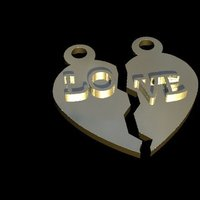 Small Heart pendant 3D Printing 61448