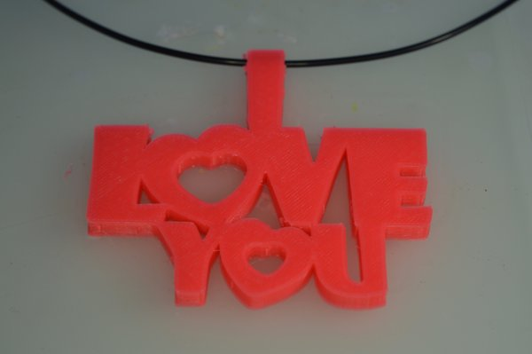Medium Special Valentine's Day I Love You Keychain Hanger Necklace 3D Printing 61462