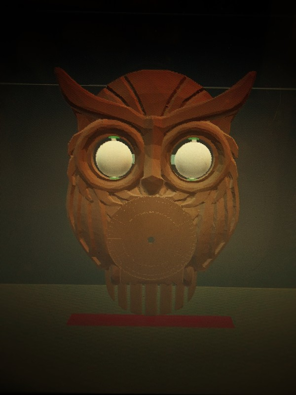 Medium OWL CLOCK with moving eyes 3D Printing 62361