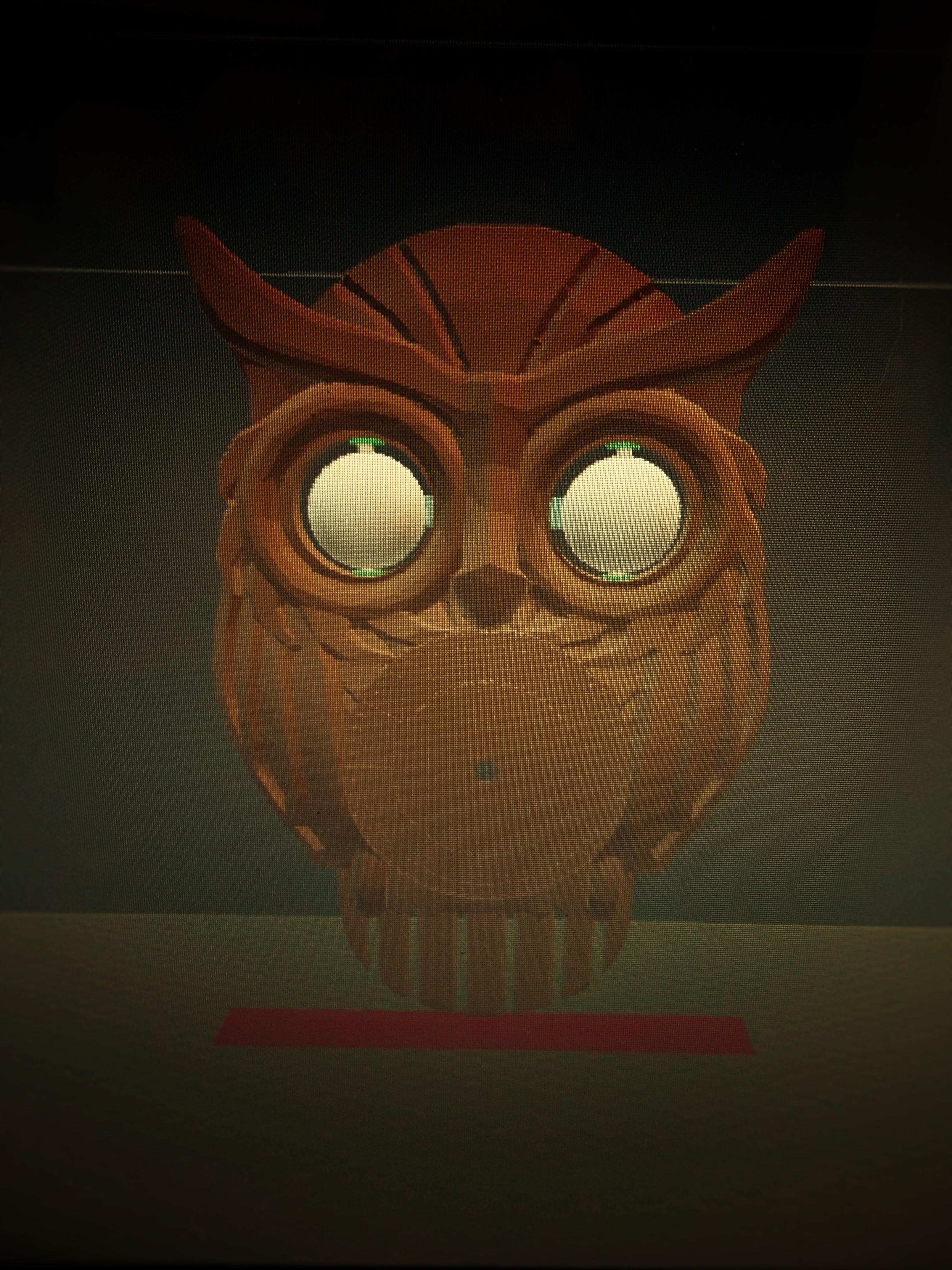 3d printed owl clock with moving eyes by atarka pinshape