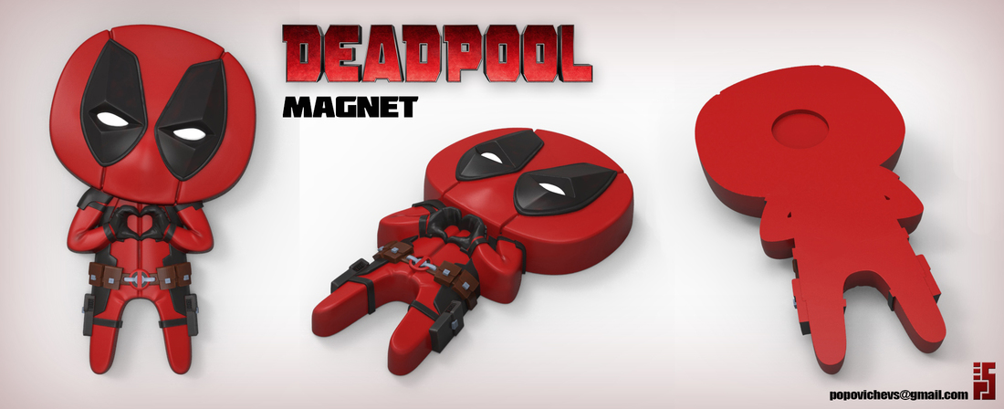 "Deadpool ""Feel The Love"" Magnet 3D Print 62366"