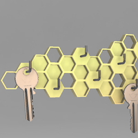 Small Honeycomb Key Hanger 3D Printing 62831