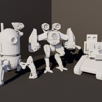 Small Robot Minifigure Trio 3D Printing 63338
