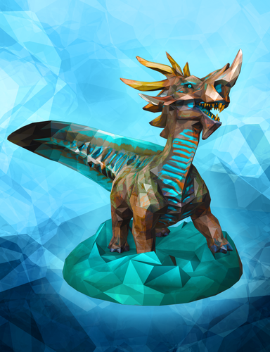 Stormy Seas Kaiju Low Poly Figurine 3D Print 6336